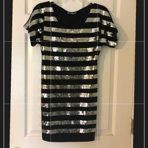 Cocktail dress with sequin stripes size 6 NWOT